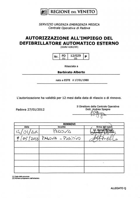Autorizzazione all'impiego del defibrillatore automatico esterno